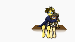 Size: 3840x2160   Tagged: safe, artist:spheedc, oc, oc only, oc:dream chaser, oc:sphee, earth pony, semi-anthro, unicorn, bipedal, book, clothes, digital art, female, filly, glasses, hug, male, mare, reading, simple background, sitting, stallion, white background