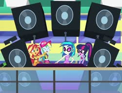 Size: 684x520 | Tagged: safe, dj pon-3, rainbow dash, sci-twi, sunset shimmer, twilight sparkle, vinyl scratch, equestria girls, i'm on a yacht, spoiler:eqg series (season 2), clothes, cropped, female, quartet, speakers, swimsuit, turntable, vinyl's glasses