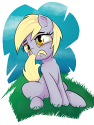 Size: 900x1200 | Tagged: safe, artist:klemm, derpy hooves, pony, biting, cute, derpabetes, female, mare, nom, sitting, solo, tail bite, wingless