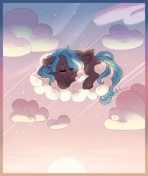 Size: 1024x1221 | Tagged: safe, artist:azure-art-wave, oc, oc:lumen, pegasus, pony, cloud, female, mare, sleeping, solo
