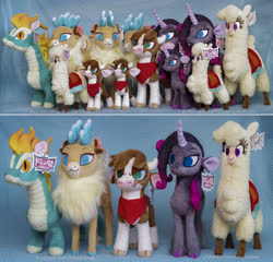 Size: 2653x2544 | Tagged: safe, artist:buttercupbabyppg, arizona cow, oleander, paprika paca, tianhuo, velvet reindeer, alpaca, classical unicorn, cow, deer, dragon, hybrid, longma, reindeer, unicorn, them's fightin' herds, bandana, cloven hooves, community related, female, group, leonine tail, photo, plushie, unshorn fetlocks