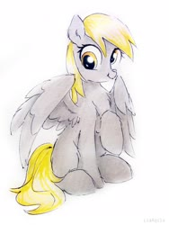 Size: 2322x3096 | Tagged: safe, artist:liaaqila, derpy hooves, pegasus, pony, commission, cute, derpabetes, female, mare, missing cutie mark, raised hoof, simple background, sitting, solo, traditional art, white background
