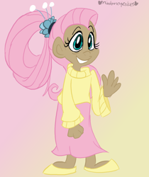 Size: 672x800 | Tagged: safe, artist:mirabuncupcakes15, fluttershy, human, the last problem, spoiler:s09e26, alternate hairstyle, clothes, dark skin, female, flats, grin, humanized, older, older fluttershy, shoes, skirt, smiling, solo, sweater, sweatershy, waving