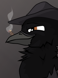 Size: 1281x1724 | Tagged: safe, artist:aaronmk, oc, oc only, bird, crow, griffon, equestria at war mod, cigar, gray background, hat, lidded eyes, male, simple background, smoking, smug, solo, vector