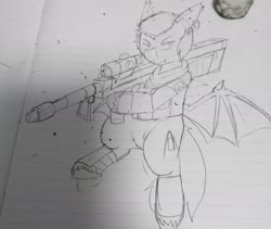 Size: 2153x1821 | Tagged: safe, artist:omegapony16, oc, bat pony, pony, armor, bat pony oc, bat wings, clothes, ear piercing, earring, eraser, hoof hold, irl, jewelry, lineart, lined paper, male, photo, piercing, rocket launcher, scarf, soldier, solo, stallion, traditional art, unshorn fetlocks, wings