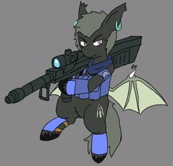 Size: 2048x1970 | Tagged: safe, alternate version, artist:omegapony16, oc, oc only, bat pony, pony, armor, bat pony oc, bat wings, clothes, colored, ear piercing, earring, featureless crotch, gray background, gun, hoof hold, jewelry, male, piercing, pubic fluff, scarf, simple background, solo, stallion, unshorn fetlocks, vest, weapon, wings