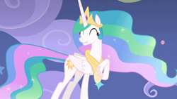 Size: 1920x1080 | Tagged: safe, screencap, princess celestia, alicorn, pony, horse play, beautiful, cheerful, crown, cute, cutelestia, ethereal mane, ethereal tail, eyes closed, female, flowing tail, folded wings, grin, hoof shoes, jewelry, mare, multicolored hair, multicolored tail, raised hoof, regalia, smiling, solo