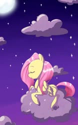 Size: 600x960 | Tagged: safe, artist:resentfuljoy, fluttershy, pegasus, pony, cloud, cute, eyes closed, female, full moon, mare, moon, night, on a cloud, profile, prone, shyabetes, sky, solo, starry night, stars