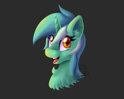 Size: 1280x1024   Tagged: safe, artist:thedamneddarklyfox, lyra heartstrings, pony, unicorn, bust, head, portrait, simple background, smiling, solo