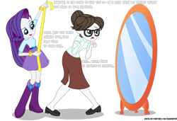 Size: 1280x878 | Tagged: safe, artist:gamerpen, rarity, raven, equestria girls, date, dressmaking, equestria girls-ified, glasses, hardly visible text, implied ravenspike, implied shipping, implied spike, implied straight, measuring tape, mirror, rarity being rarity, secretary, simple background, transparent background