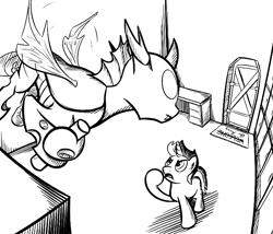 Size: 700x600   Tagged: safe, artist:sirvalter, oc, oc only, oc:bzzz, oc:scoperage, changeling, pony, unicorn, fanfic:steyblridge chronicle, artifact, black and white, clothes, duo, fanfic, fanfic art, flying, grayscale, hooves, horn, illustration, male, monochrome, open mouth, research institute, scientist, stallion, storage