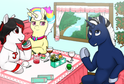 Size: 1896x1279 | Tagged: safe, artist:69beas, oc, oc only, oc:shabaco, oc:tiorafa, oc:trinity deblanc, earth pony, pony, unicorn, accessories, collar, colored hooves, commission, cupcake, digital art, drink, eating, female, food, freckles, frog (hoof), glass, group, jessie's cupcakes, jewelry, male, mare, plate, sitting, stallion, strawberry, table, talking, tree, underhoof, vase, window