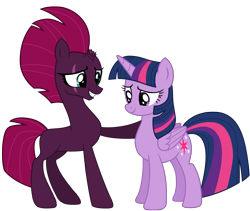 Size: 12012x10137 | Tagged: safe, alternate version, artist:ejlightning007arts, derpibooru exclusive, tempest shadow, twilight sparkle, alicorn, unicorn, base used, blank flank, broken horn, eye scar, female, hoof on shoulder, horn, lesbian, mare, scar, shipping, simple background, smiling, tempestlight, transparent background, twilight sparkle (alicorn), vector