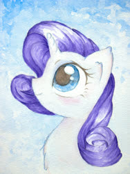 Size: 3024x4032   Tagged: safe, artist:papersurgery, rarity, pony, unicorn, bust, looking up, smiling, solo, traditional art, watercolor painting