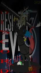 Size: 720x1280 | Tagged: safe, artist:killkatt, discord, draconequus, clothes, digital art, nemesis, resident evil, rocket launcher, weapon