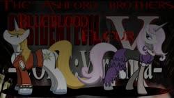 Size: 1280x720 | Tagged: safe, artist:killkatt, fleur-de-lis, prince blueblood, pony, unicorn, clothes, cutie mark, digital art, female, horn, male, mare, resident evil, resident evil code: veronica, stallion, tail