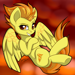 Size: 2964x2965 | Tagged: safe, artist:gleamydreams, spitfire, pegasus, crossed arms, crossed legs, female, mare, smiling, smirk, solo, spread wings, wings