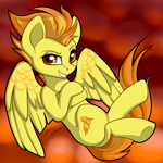 Size: 2964x2965 | Tagged: safe, artist:gleamydreams, spitfire, pegasus, pony, crossed arms, crossed legs, female, mare, smiling, smirk, solo, spread wings, wings