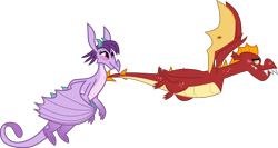 Size: 7500x4000 | Tagged: safe, alternate version, artist:melisareb, garble, prominence, dragon, between dark and dawn, .svg available, absurd resolution, blushing, duo, female, flying, garbinence, inkscape, looking at you, male, shipping, simple background, straight, transparent background, vector