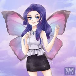 Size: 600x601 | Tagged: safe, artist:vilyann, rarity, human, sonic rainboom (episode), butterfly wings, cloud, cute, female, humanized, lidded eyes, nail polish, part of a set, raribetes, sky, solo, winged humanization, wings