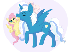 Size: 1051x761 | Tagged: safe, artist:unicryla, fluttershy, oc, oc:fleurbelle, alicorn, alicorn oc, bow, eyes closed, female, hair bow, horn, mare, mouth hold, simple background, stuffed toy, toy, transparent background, trotting, wings