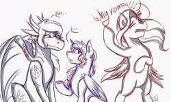 Size: 1600x953 | Tagged: safe, artist:shamy-crist, oc, oc only, oc:shamy, alicorn, dragon, pegasus, pony, bipedal, female, mare