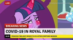 Size: 718x394 | Tagged: safe, edit, edited screencap, screencap, twilight sparkle, alicorn, pony, ail-icorn, spoiler:interseason shorts, bed, boris johnson, break your own news, breaking news, coronavirus, covid-19, horn, pillow, red nosed, sick, sicklight sparkle, solo, swollen horn, too soon, twilight sparkle (alicorn), we are going to hell
