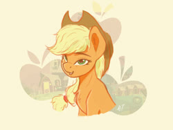 Size: 960x723 | Tagged: safe, artist:appletree12112, applejack, earth pony, pony, barn, bust, chest fluff, cowboy hat, cute, cutie mark background, ear fluff, female, hat, jackabetes, mare, open mouth, solo, sweet apple acres