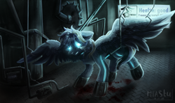 Size: 7450x4400 | Tagged: safe, artist:miastu, oc, oc only, oc:stail, cyber pony, cyborg, original species, pegasus, pony, buzzsaw, cabin, circular saw, complex background, cyberpunk, eye, eyes, factory, glowing eyes, hooves, improvement, interface, male, needles, neon, new look, pipes, remake, roboticization, saw, scalpel, solo, stallion, terminal, upgrade