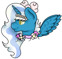 Size: 914x875 | Tagged: safe, artist:lovebug28724, oc, oc:fleurbelle, alicorn, alicorn oc, bow, female, flower, flower in hair, hair bow, horn, mare, simple background, smiling, transparent background, wings, yellow eyes