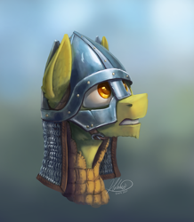 Size: 1185x1361 | Tagged: safe, artist:helmie-d, oc, oc only, earth pony, pony, armor, aventail, helmet, male, padded coif, solo, spengenhelm, stallion
