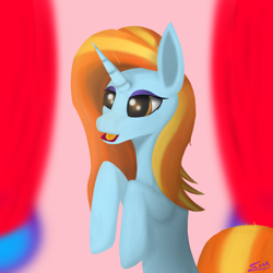 Size: 5000x5000 | Tagged: safe, artist:graphictoxin, sassy saddles, pony, unicorn, absurd resolution, boutique, canon, curtains, female, hooves, lineless, mare, open mouth, simple background, smiling