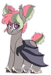 Size: 423x618 | Tagged: safe, artist:liefsong, oc, oc only, oc:dragonfruit, bat pony, hybrid, blaze (coat marking), fangs, feathered fetlocks, female, filly, foal, freckles, parent:lief, parent:windwalker, parents:oc x oc, pigtails, simple background, solo, transparent background, windsong