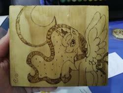 Size: 1280x960 | Tagged: safe, artist:dawn-designs-art, artist:sapphire-burns-art, princess luna, alicorn, pony, moon, photo, pyrography, solo, traditional art, wood
