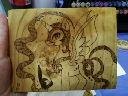 Size: 1280x960 | Tagged: safe, artist:dawn-designs-art, artist:sapphire-burns-art, nightmare moon, alicorn, pony, photo, pyrography, solo, traditional art, wood