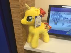 Size: 2828x2121 | Tagged: safe, artist:matthewbro1, sunset shimmer, earth pony, unicorn, build-a-bear, photo, plushie, solo