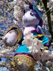 Size: 1536x2048 | Tagged: safe, artist:lumithekirin, starlight glimmer, pony, unicorn, cherry blossoms, clothes, flower, flower blossom, photo, plushie, robe, solo