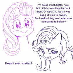 Size: 2048x2048 | Tagged: safe, artist:chapaghettii, starlight glimmer, pony, unicorn, dialogue, grin, nervous, nervous grin, self ponidox, smiling, solo