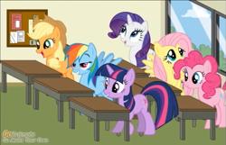 Size: 1106x711 | Tagged: safe, artist:hihipuffyamiyumirules2001, applejack, fluttershy, pinkie pie, rainbow dash, rarity, twilight sparkle, earth pony, pegasus, pony, unicorn, classroom, cringing, female, goanimate, mane six, mare, unicorn twilight, vyond, youtube link