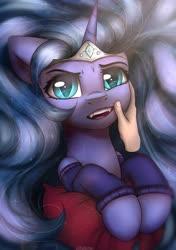 Size: 2300x3260   Tagged: safe, artist:reterica, nightmare moon, princess luna, human, pony, clothes, cute, fangs, pillow, socks
