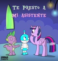 Size: 1714x1819 | Tagged: safe, artist:gradiusfanatic, spike, twilight sparkle, oc, alicorn, dragon, robot, twilight sparkle (alicorn)