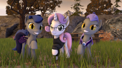 Size: 1920x1080 | Tagged: safe, artist:melbournesfm, sweetie belle, oc, oc:echo, oc:midnight blossom, bat pony, unicorn, 3d, armor, clothes, female, females only, glasses, guard, looking at you, park, source filmmaker, trio, trio female