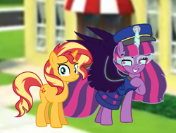 Size: 1440x1080 | Tagged: safe, artist:徐詩珮, sunset shimmer, twilight sparkle, alicorn, pony, series:sprglitemplight diary, series:sprglitemplight life jacket days, series:springshadowdrops diary, series:springshadowdrops life jacket days, equestria girls, alternate universe, base used, chase (paw patrol), clothes, equestria girls ponified, evil grin, evil twilight, female, grin, midnight sparkle, paw patrol, ponified, princess midnight, smiling, twilight sparkle (alicorn)