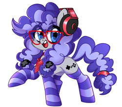 Size: 816x719 | Tagged: safe, artist:techycutie, oc, oc only, oc:cinnabyte, adorkable, bandana, clothes, cute, dork, gaming headset, glasses, happy, headset, smiling, socks, solo, striped socks