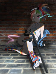 Size: 3000x4000 | Tagged: safe, artist:octvinybbf4ever, rainbow dash, human, female, gun, humanized, roller skates, sitting, solo, weapon