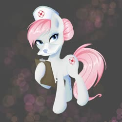 Size: 1024x1024 | Tagged: safe, artist:yuntaoxd, nurse redheart, earth pony, pony, clipboard, female, mare, n99, ppe, respirator, solo