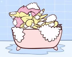Size: 1920x1513 | Tagged: safe, artist:kimjoman, fluttershy, pegasus, pony, bath, bathing, bathtub, bubble bath, ear fluff, female, floppy ears, indoors, looking at you, mare, one eye closed, one wing out, smiling, solo, washing, water, wings, wink, winking at you
