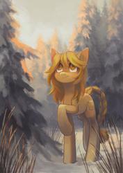 Size: 1585x2241 | Tagged: safe, artist:koviry, oc, oc only, oc:marigold, earth pony, pony, snow, solo