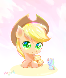 Size: 2751x3210 | Tagged: safe, artist:bronyazaych, applejack, rainbow dash, earth pony, pegasus, cowboy hat, cute, dashabetes, duo, female, hat, jackabetes, mare, size difference