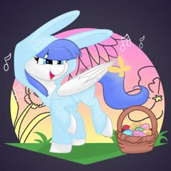 Size: 1280x1281 | Tagged: safe, artist:cadetredshirt, oc, oc only, oc:snow pup, butterfly, pegasus, pony, animal costume, basket, blue eyes, blue hair, blue mane, blue tail, bunny costume, bunny ears, clothes, commission, costume, digital art, easter, easter basket, easter egg, egg, holiday, music notes, simple background, singing, smiling, solo, sunset, walking, white coat, wings, wings down, ych result, your character here